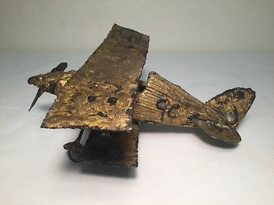 Vintage One of A Kind Metal Biplane - Folk Art