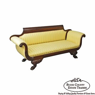 Antique American Empire Classical Carved Mahogany Sofa