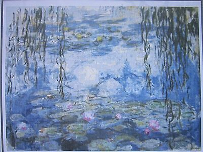 WATERLILIES BY MONET cross stitch chart also available as A4 glossy print