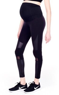 Womens Ingrid & Isabel Maternity Active Moto Legging W/ Mesh Size XS Black