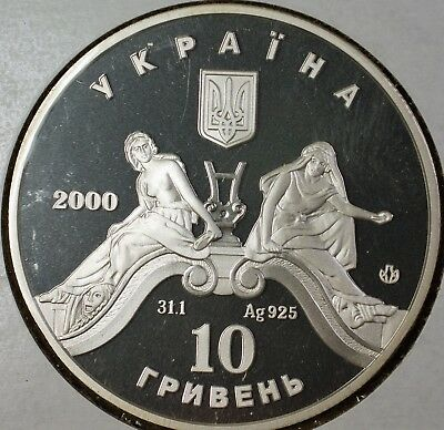 2000 Ukraine 10 Hryvnias 100 Years of Ballet Theatre Silver Proof Comm Coin