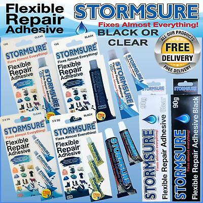 STORMSURE BLACK or CLEAR FLEXIBLE REPAIR ADHESIVE GLUE TENT RIPS HOLES BOOT SHOE