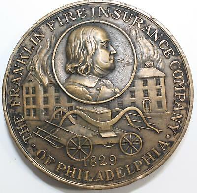 1919 Franklin Fire Insurance Company Bronze Medal Paperweight 90th Anniversary