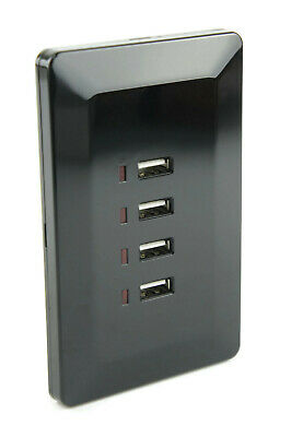 Black Australian Wall Plate with 4 x USB Socket Charger