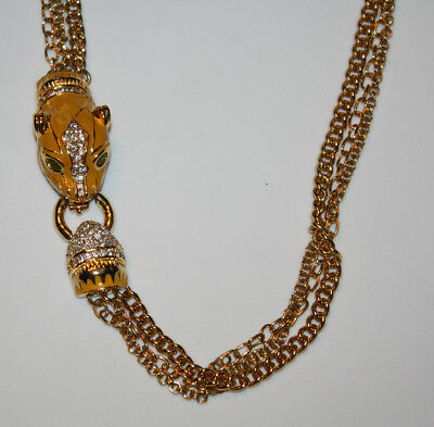 PANTHER NECKLACE Vintage Rhinestone Gold Tone Jewelry Enamel Cat Head Clasp