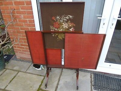 Antique Victorian rise and fall triple panel firescreen