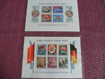 Briefmarken + Block Karl-Marx 1953 / Block Friedrich Engels 1955