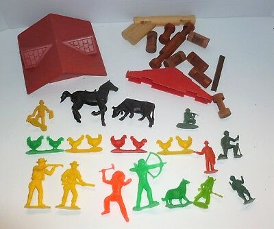 Vintage Plastic Farm Animals Horse Cowboy Indian Figures Lincoln Log mixed lot