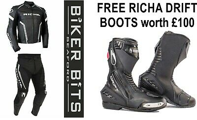 RICHA MONZA Black/White Motorcycle Sports CE Leather Jacket/Trousers 2PC