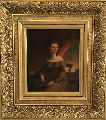 Finely Painted 19th C, Antique Oil Painting Portrait Of A Lady
