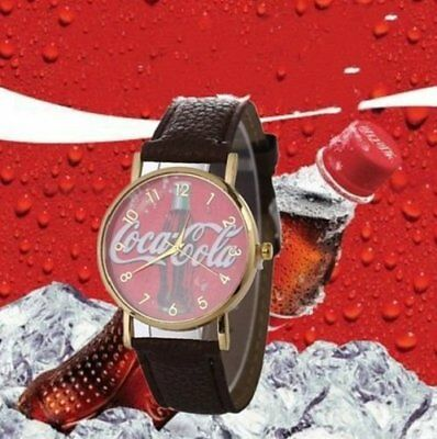 Coca Cola Watch Unisex Quartz Movement Ss Case Brand New Red Face And Black Band