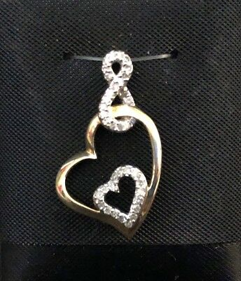 10k Two Tone Ladies Double Heart Infinity Pendant with Diamonds 1.71g
