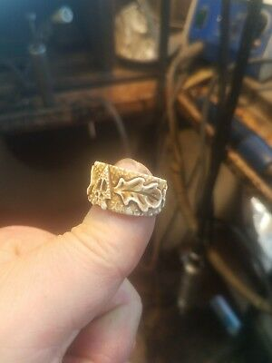 Arrowhead deer elk tracks carved antler RING hunter calls sz11 BoNeCarver