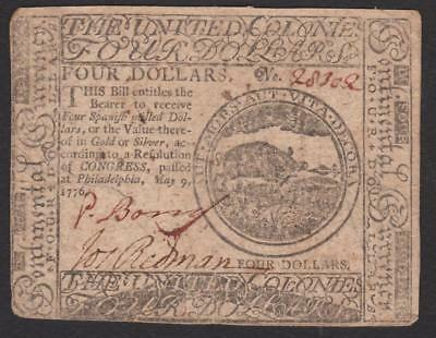 CC-34 $4.00 May 9, 1776 Continental Colonial Currency (signed by Phineas Bond)