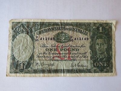 Australia 1942 1 Pound Banknote (signed by Armitage/McFarlane)