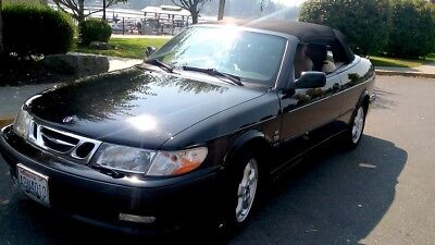 2001 Saab 9-3 SE Convertible 2001 SAAB 9-3 SE TURBO CONVERTIBLE-5 Spd-BLACK W/TAN LEATHER-FINE STEREO-CLASSY!
