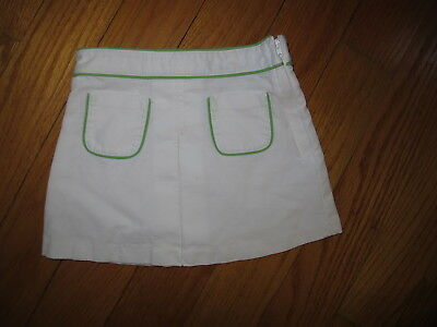 Janie and Jack Girls 3 White & Green Pipping Skirt