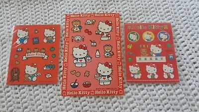 Vintage Sanrio Hello Kitty 3 Sticker Sheets lot  New in Package 1976,1990s