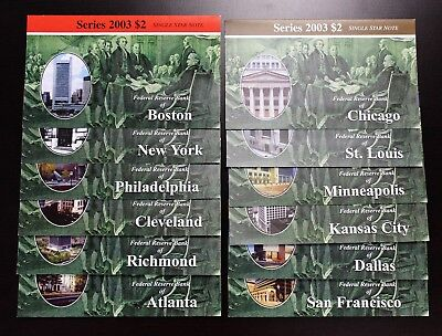 Series 2003 Set Of 12 FRB Low Serial Numbers $2 Star Notes