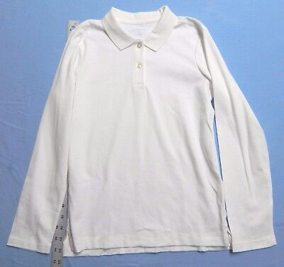 Lands' End Girls Long Sleeve Fem Fit Interlock Polo White Size M 10 - 12
