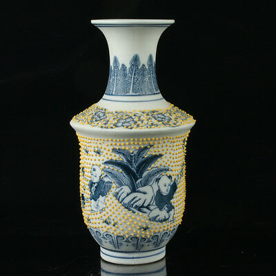 China Porcelain Hand-Painted Children Vase Mark As The Qianlong Period R1034