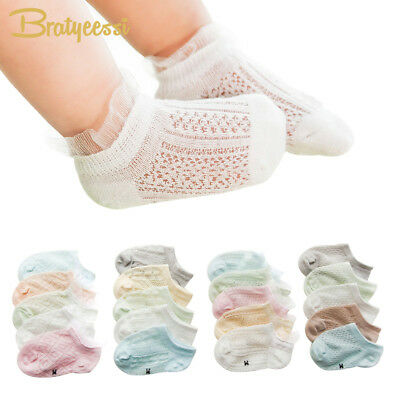 5 Pairs Summer Baby Socks for Girls Lace Ankle Length Cotton Newborn Socks