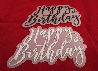 6 Happy Birthday With Vellum Mat Die Cuts.........black & White.......cardmaking