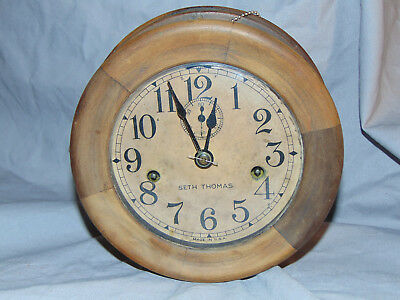 Vintage Seth Thomas Wooden Cased Round Ships Clock Estate Fresh Timepiece