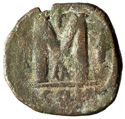 "LARGE Byzantine Coin Justinian I 527-565 AD ""Large M Two Crosses"" Constantinople"