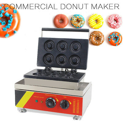6 Pieces Commercial Donut Machine Maker Automatic Electric Waffle Making Home