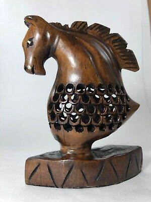 Carved Horse Head Figurine Statue - Spirited Wooden Sculpture, Great Gift Idea!