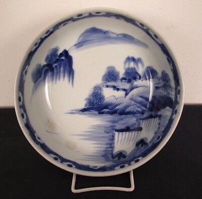 Japanese Arita Serving Bowl w/ Age in Blue & White Mountain Landscape 8.75""
