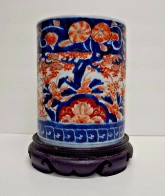 "Vintage Japanese Imari Porcelain Brush Pot Cylinder Blue Red 7"" Signed/Marked"
