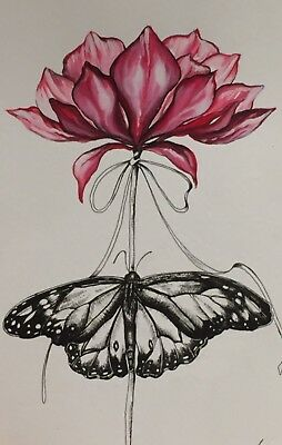 Watercolor & Pen Ink Art Drawing Of Flower. Butterfly Painting. Realistic. Gift.