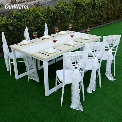 35x300cm White Lace Table Runner Chair Sashes Birthday Wedding Party Table Cover