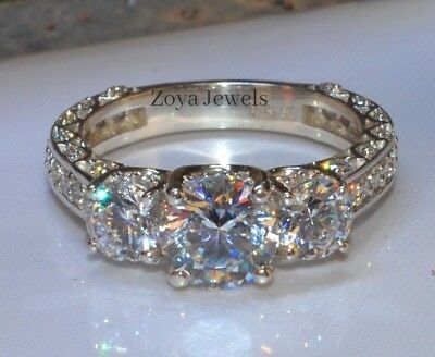 Certified 2.20ct Round Diamond Forever Brilliant Engagement Ring 14K White Gold
