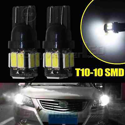 2pcs 6000K White T10 10SMD Wedge Interior Map Door LED Light Bulbs W5W 168 194