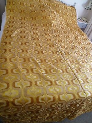 Vintage Curtain Fabric Retro Psychedelic Gold Embossed 145cm Wide 9.4m
