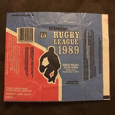 Scanlens NRL Rugby League 1989 Bubble Gum Wrapper Packet MINT CONDITION