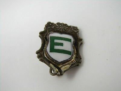 Antique Vintage Collectible Pin: Letter E Green White Shield Ceramic