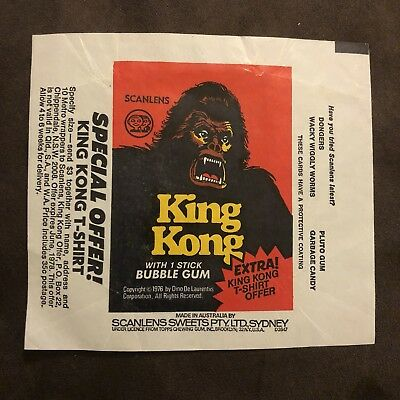 Scanlens King Kong 1976 Bubble Gum Wrapper Packet MINT CONDITION