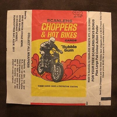 Scanlens Choppers And Hot Bikes Bubble Gum Wrapper Packet MINT CONDITION