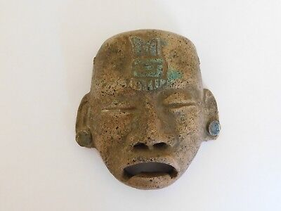Ancient Pre-Columbian Aztec Mexican Mayan Antique Pottery Terracotta Mask
