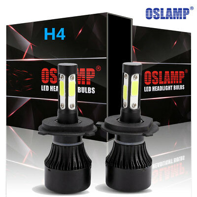 H4 COB LED Bulb White 360° Hi/Low Beam Motorcycle Headlight High Power 4 Sides