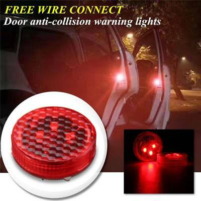 2x Universal Car Door LED Opened Warning Flash Light Wireless Anti-collid Red