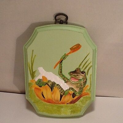 Vintage 1980s Frog Bathing in a Lily Pad Wood Plaque Bathroom Decor Mixed Media