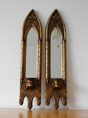 c.19th - Antique French Gilt Wooden Candle Wall Sconces Candle Holders Pair