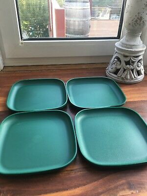 Tupperware Picnic Snack Plates Kids Forest Green Great Cond *free Post*