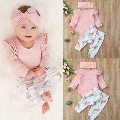 UK Stock Newborn Baby Girl Clothes Romper Shirt Top+Pants Leggings Outfits Set