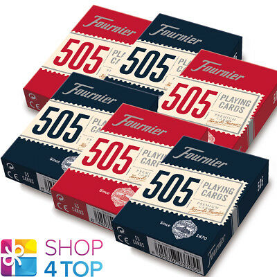 6 Decks Fournier 505 Plastic Coated Poker Playing Cards 3 Red 3 Blue Standard